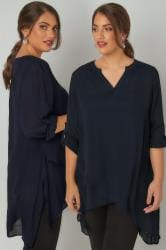 Navy Layered Blouse With Notch Neck & Dipped Hem