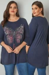 Navy Longline Butterfly Print Top With Bead Embellishment