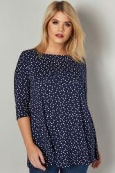 Navy Longline Polka Dot Print Top With Envelope Neckline