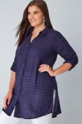 Navy Longline Shirt With Waist Tie