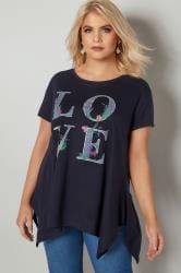 Navy 'Love' Slogan Print T-Shirt With Hanky Hem