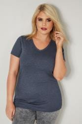 Navy Marl Basic V-Neck T-Shirt