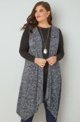 Navy Mix Longline Sleeveless Cardigan