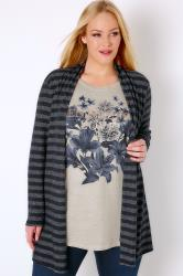 "Navy & Multi 2 In 1 Stripe Cardigan & ""Endless Love"" Top"