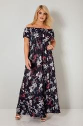 Navy & Multi Floral Gypsy Sequin Embellished Maxi Dress