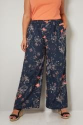 Navy & Multi Floral Print Wide Leg Trousers