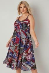 Navy Patchwork Print Dress