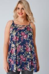 Navy & Multi Rose Print V-Neck Cami Vest Top With Cross Front Detail