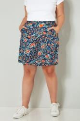 Navy & Orange Floral Woven Shorts
