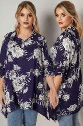 Navy Overhead Shirt With Floral Print & Sequin Embellishment
