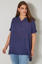 Navy Oversized Blouse With Grown On Sleeves