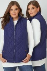 Navy Padded Gilet With Quilted Stitch Detail & Popper Button Pockets