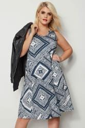 Navy Paisley Drape Pocket Dress
