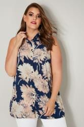 Navy & Peach Floral Print Longline Sleeveless Shirt