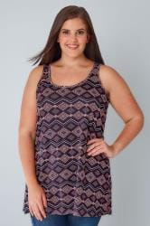 Navy & Pink Diamond Print Swing Vest Top