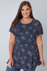 Navy & Pink Ditsy Floral Peplum Top With Frill Angel Sleeves