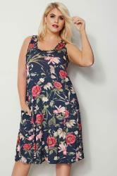 Navy & Pink Floral Drape Pocket Dress