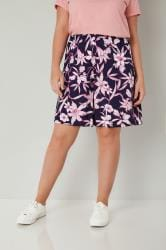 Navy & Pink Floral Print Jersey Pull On Shorts
