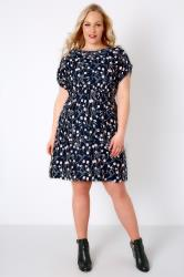 Navy, Pink & Grey Floral Print Skater Dress
