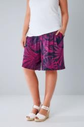 Navy & Pink Tropical Palm Print Jersey Shorts