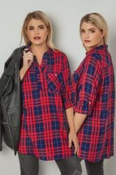 Navy & Red Oversized Checked Shirt With V-Neck