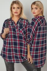 Navy, Red & White Faux Pearl Embellished Oversized Checked Shirt With V-Neck