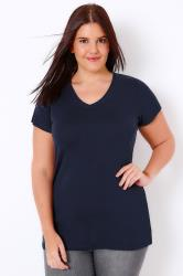 Navy Short Sleeved V-Neck Basic T-Shirt