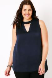 Navy Sleeveless Blouse With Choker Detail & V-Neckline