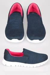 Navy Slip On Trainers With Memory Foam Insole In EEE Fit
