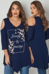 Navy Slogan Print Cold Shoulder Top With Asymmetric Hem