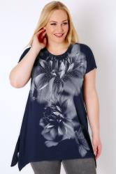 Navy Smoky Floral Print Stud Embellished Top With Hanky Hem