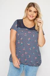 Navy Stripe Floral Lace Bubble Hem Top