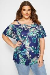 Navy Tropical Print Keyhole Cold Shoulder Top