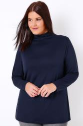YOURS LONDON Navy Turtle Neck Long Sleeved Soft Touch Jersey Top