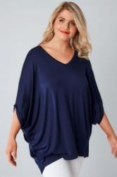 Navy V-Neck Oversized Cape Style Jersey Top