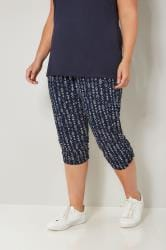 Navy & White Aztec Cropped Harem Trousers