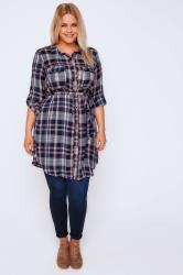 Navy & Coral Check Button-Up Tunic Shirt Dress With Tie Waist