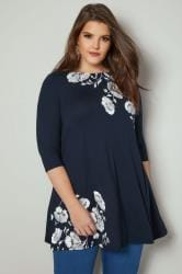 Navy & White Floral Print Jersey Top With Square Neckline