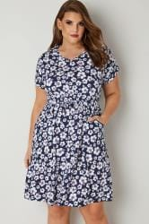 Navy & White Floral Print T-Shirt Dress With Pockets & Elasticated Waistband