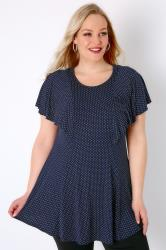 Navy & White Polka Dot Peplum Top With Frill Angel Sleeves