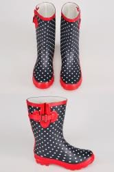 Navy & White Polka Dot Wellington Boots With Red Trims In TRUE EEE Fit
