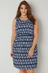 Navy & White Print Pocket Dress With Elasticated Waist