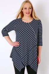 Navy & White Stripe Cut About Top With Hanky Hem