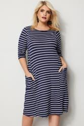 Navy & White Striped Drape Pocket Dress