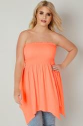 Neon Orange Bandeau Top With Hanky Hem