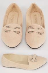 Nude COMFORT INSOLE Faux Suede Ballerina Pump With Metal Bow In E Fit