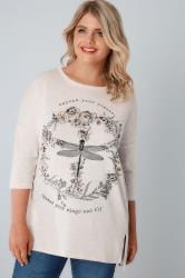 Oatmeal Dragonfly Slogan Print Jersey Sweat Top