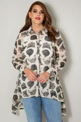 Off White & Black Cat Print Chiffon Shirt With Dipped Hem