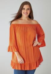 Orange Bardot Gypsy Top With Beaded Details & Flute Sleeves