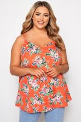 Orange Floral Print Cami Top